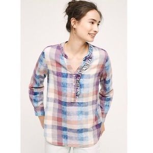Isabella Sinclair Anthro Pastel Plaid Tunic Shirt